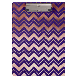 elegant rose gold foil navy blue chevron pattern clipboards