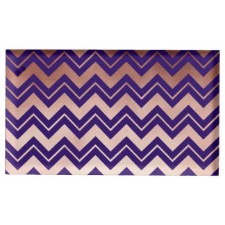 elegant rose gold foil navy blue chevron pattern table card holder