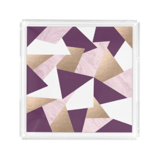 elegant rose gold foil pink marble geometric acrylic tray