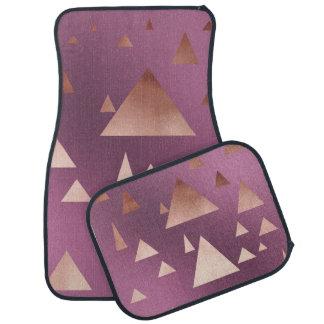 elegant rose gold geometric triangles pattern car mat