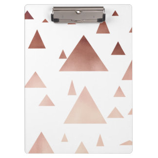 elegant rose gold geometric triangles pattern clipboard