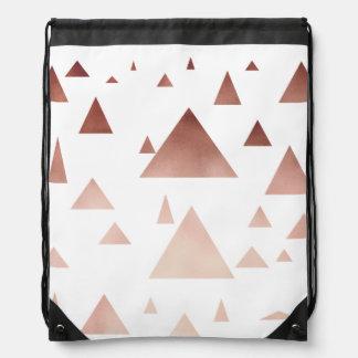 elegant rose gold geometric triangles pattern drawstring bag