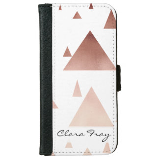 elegant rose gold geometric triangles pattern iPhone 6 wallet case