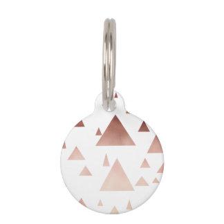 elegant rose gold geometric triangles pattern pet name tag