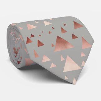 elegant rose gold geometric triangles pattern tie