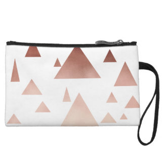 elegant rose gold geometric triangles pattern wristlet