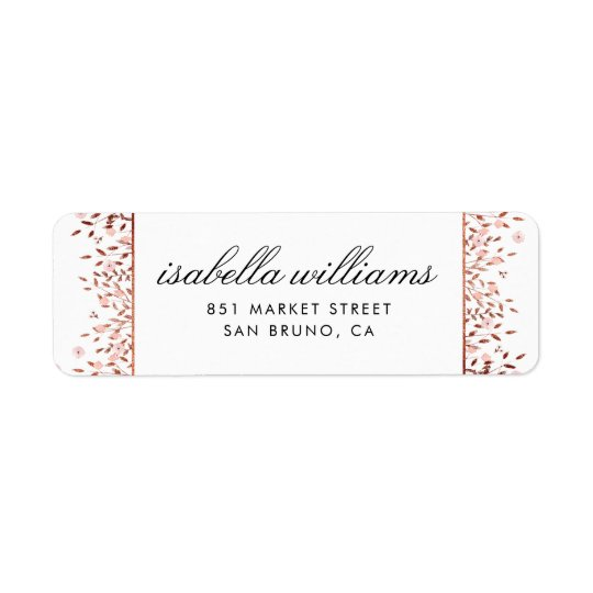 Elegant Rose Gold Glitter | Floral Address Return Address Label