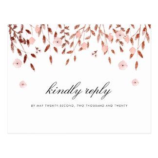 Elegant Rose Gold Glitter   Floral Wedding RSVP Postcard
