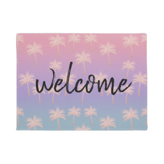 Elegant rose gold glitter gradient palm pattern doormat