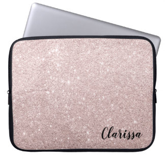 elegant rose gold glitter laptop sleeve