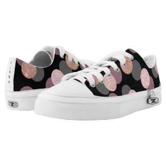 elegant rose gold glitter pastel pink confetti low tops