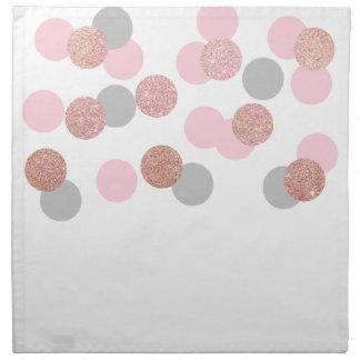 elegant rose gold glitter pastel pink confetti napkin