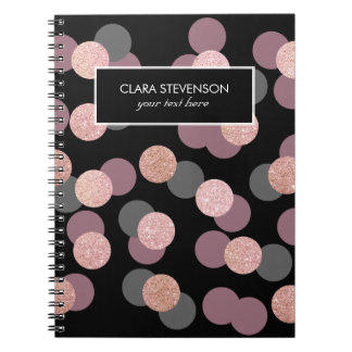 elegant rose gold glitter pastel pink confetti notebooks