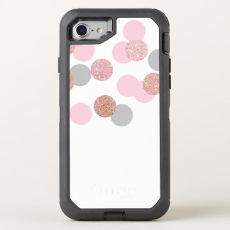 elegant rose gold glitter pastel pink confetti OtterBox defender iPhone 8/7 case