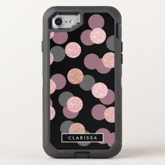 elegant rose gold glitter pastel pink confetti OtterBox defender iPhone 8/7 case