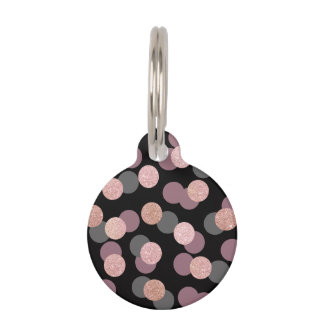 elegant rose gold glitter pastel pink confetti pet tag
