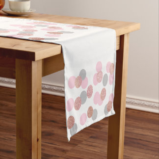 elegant rose gold glitter pastel pink confetti short table runner