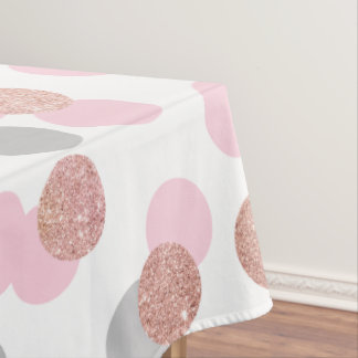 elegant rose gold glitter pastel pink confetti tablecloth