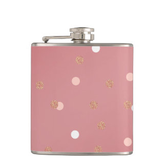 elegant rose gold glitter pink polka dots pattern hip flask