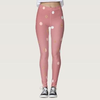 elegant rose gold glitter pink polka dots pattern leggings