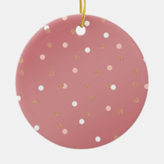 elegant rose gold glitter pink polka dots pattern round ceramic decoration
