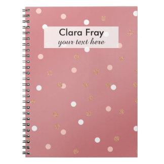 elegant rose gold glitter pink polka dots pattern spiral notebook