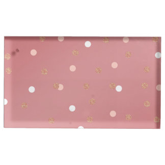 elegant rose gold glitter pink polka dots pattern table card holders