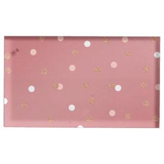 elegant rose gold glitter pink polka dots pattern table number holder