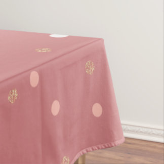 elegant rose gold glitter pink polka dots pattern tablecloth