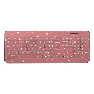 elegant rose gold glitter pink polka dots pattern wireless keyboard