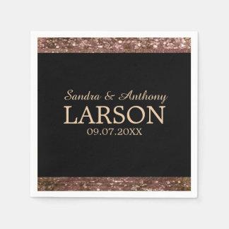 Elegant Rose Gold Glitter Wedding Napkin Disposable Napkin