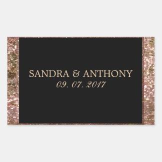 Elegant Rose Gold Glitter Wedding Sticker