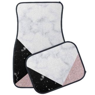 Elegant rose gold glitter white black marble car mat