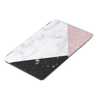 Elegant rose gold glitter white black marble iPad mini cover