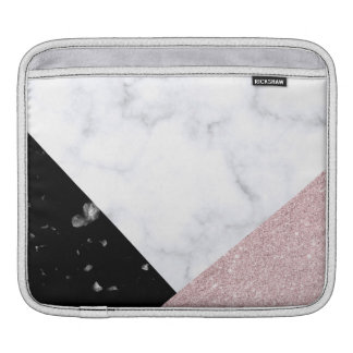 Elegant rose gold glitter white black marble iPad sleeve