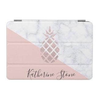 Elegant rose gold glitter white marble blush pink iPad mini cover