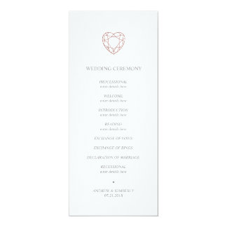 Elegant rose gold heart wedding program