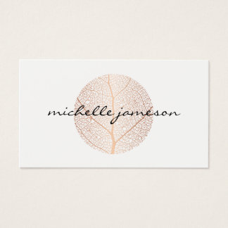 Elegant Rose Gold Leaf Logo on White Business Card