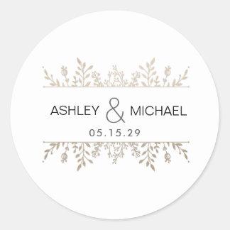 Elegant Rose Gold Leafy Frame Wedding Sticker