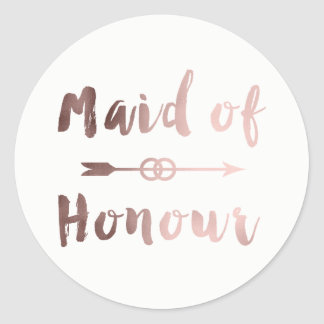 elegant rose gold maid of honor arrow wedding ring classic round sticker