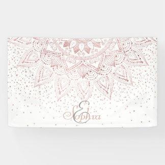 Elegant rose gold mandala confetti design banner