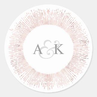 Elegant rose gold monogram wedding favor sticker