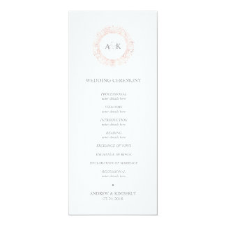 Elegant rose gold monogram wedding program