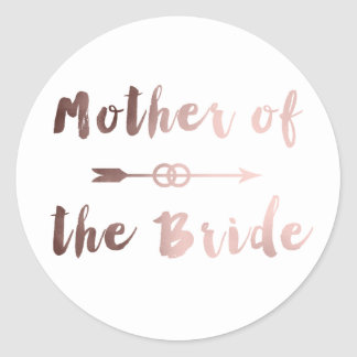 elegant rose gold mother of the bride arrow ring classic round sticker