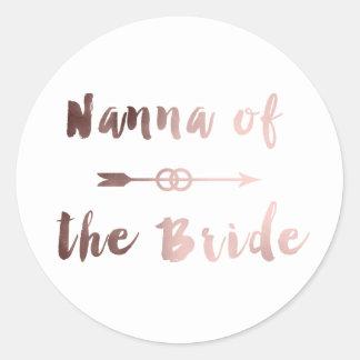 elegant rose gold nanna of the bride arrow ring classic round sticker