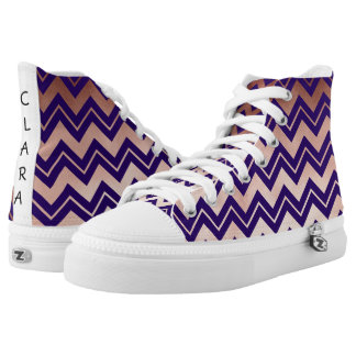 elegant rose gold navy blue chevron pattern high tops