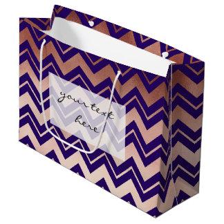 elegant rose gold navy blue chevron pattern large gift bag