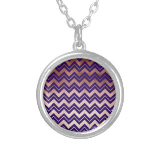 elegant rose gold navy blue chevron pattern silver plated necklace