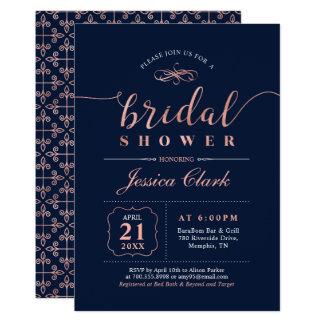Elegant Rose Gold & Navy Bridal Shower Invitation