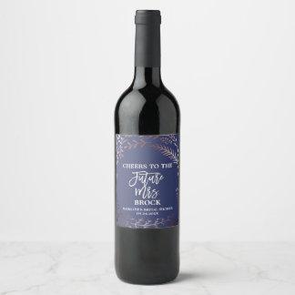 Elegant Rose Gold & Navy Future Mrs Bridal Shower Wine Label